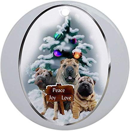 Voicpobo Chinese Shar Pei Christmas Novelty Round Ceramic Christmas Ornaments Christmas Tree Decorative 3 inches