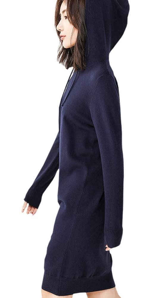ARTMINE Womens Cashmere Blend Knit Hoodie Long Tunic Sweatshirts