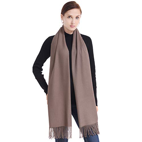 LERDU Ladies Gift Idea Cashmere Pashmina Scarf Fashion Warm Wool Wrap Shawl Winter Stole for Women Coffee