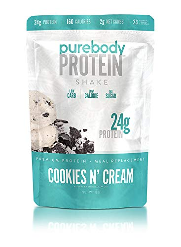 Pure Body Protein Shake & Supplement, 16 oz, 24g Protein, Low Sugar, Low Carb, 180 Calorie Meal Replacement (Cookies N Cream) (Pure Protein Whey Protein Powder For Weight Loss)