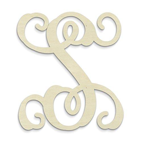 UNFINISHEDWOODCO Single Vine Unfinished Monogram S