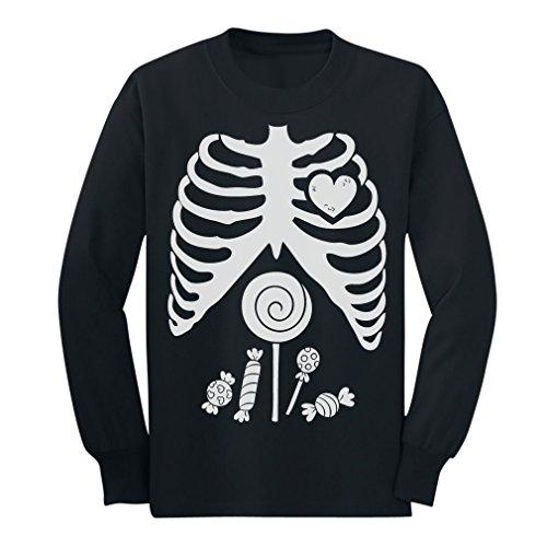 Children Skeleton Candy Rib-cage X-Ray Halloween Funny Long sleeve kids T-Shirt 5/6 Black (Halloween Tshirt)
