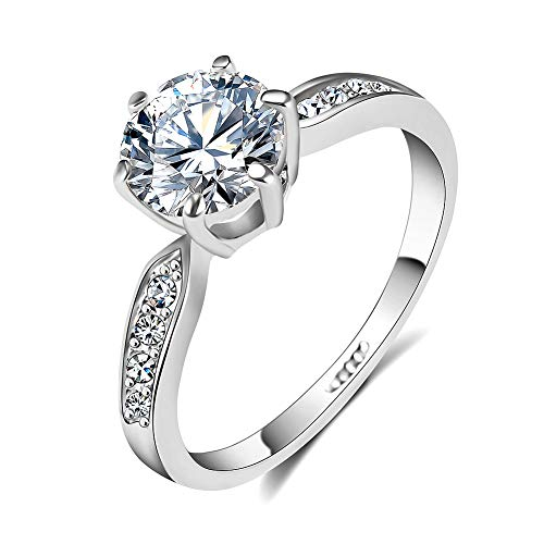 Setting Ring Solitaire Prong (QJLE Wedding Rings for Women,18K Rose Gold Plated 1.5ct CZ Diamond Cut Cubic Zirconia Engagement Ring,Solitaire Promise Anniversary Band (Silver, 4))