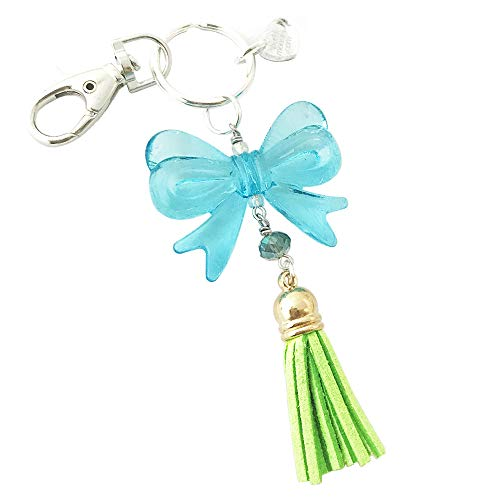 (Large Blue Bow and Green Tassel Keychain with Lobster Claw)