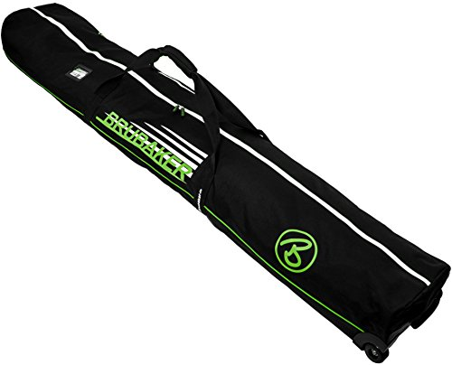 BRUBAKER 'Race Champion' Ski Bag with Wheels - for 2 Pairs of Skis - Black Green - 190 cm (74 3/4