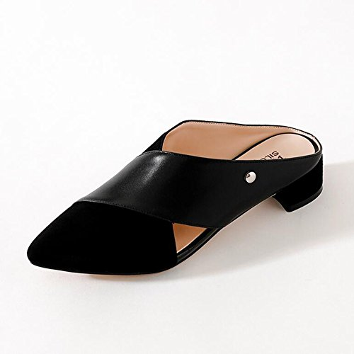 Womens Low Sandals CJC Heel Toe Ladies Fashion Closed Suede Leather Black t56q6xwBR