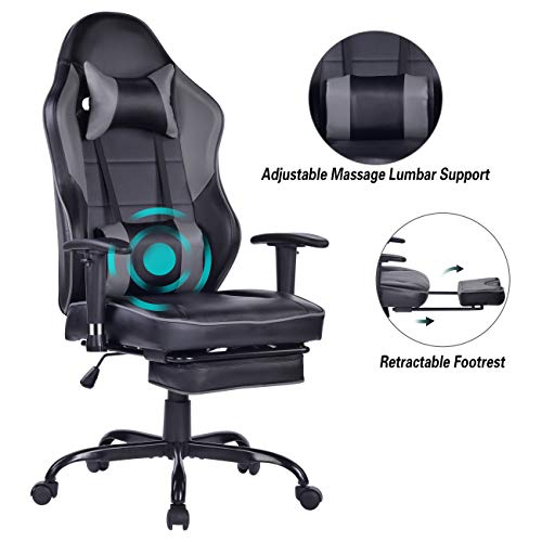Blue Whale Gaming Chair PC Computer Chair with Footrest Ergonomic Video Game Chair High Back Racing Gamer Chair Reclining Leather Office Chair with Headrest and Lumbar Support (8332Grey3)