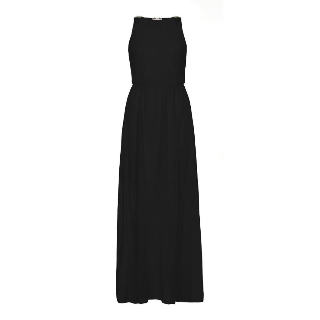 Amazon.com: Women Dress, Letdown Women Halter Formal Chiffon Solid Color Sleeveless Prom Evening Evening Party Long Maxi Dress (S, Black)