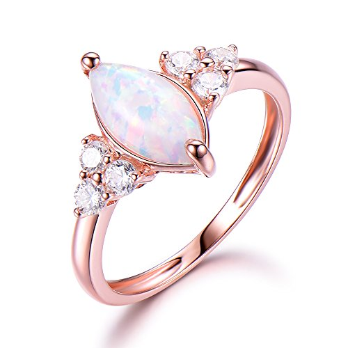 Opal Engagement Ring 925 Sterling Silver Rose Gold Plated CZ Cluster Antique Anniversary Gift Promise by Milejewel Opal Engagement Ring