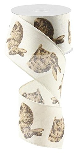 Brown Rabbit Canvas Wired Edge Ribbon, 2.5