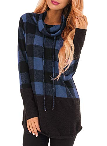 (Women Cowl Neck Long Sleeve Plaid Tunic Sweatshirts Pullover Loose Lightweight Patchwork Shirts Casual Blouse Tops Blue L 12 14)