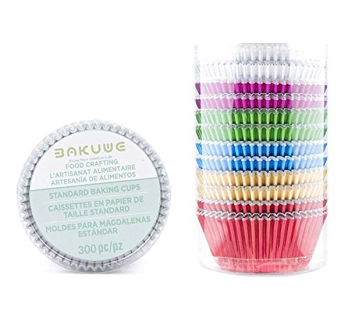 Foil Standard Baking Cups - Bakuwe Rainbow Standard Foil Cupcake Liners Muffin Baking Cups Pack of 300, Each Color 50