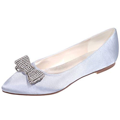 Loslandifen Femmes Satin Flats Strass Bow Talons Bas Chaussures De Mariage Argent / 2046-19