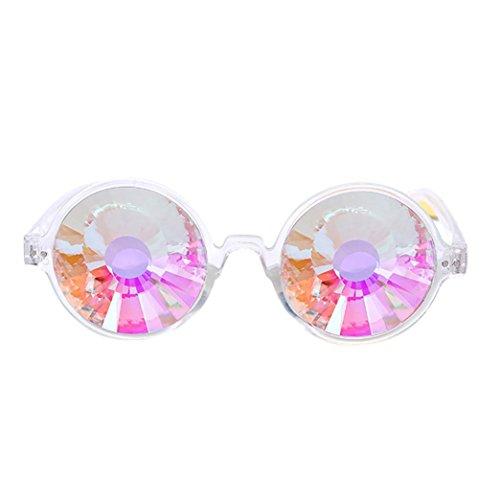 Women Fashion Sunglasses, Lotus.flower Kaleidoscope Glasses Rave Festival Party EDM Sunglasses Diffracted Lens Eyewear Outdoor Glasses (New - Edm Sunglasses