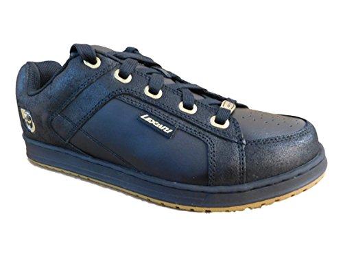 Lexani Glans Rund Tå Läder Sneakers Svart / Guld