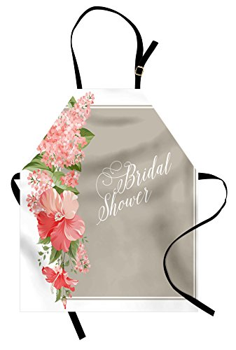 (Ambesonne Bridal Shower Apron, Lilacs Orchids with Leaves Corner Frame Bride Floral Arrangement, Unisex Kitchen Bib Apron with Adjustable Neck for Cooking Baking Gardening, Salmon Beige)