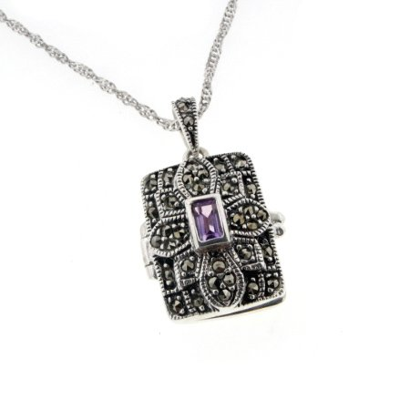 Rectangular Antiqued Photo Locket Pendant - Genuine Amethyst and Marcasite Sterling Silver with 20