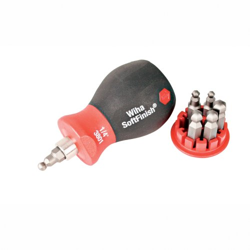Wiha 38056 Stubby Screwdriver With Six-In-One Insert Bits, Ball End - Bit Insert Driver Ball