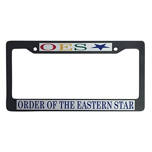 Order of the Eastern Star OES Black Plastic License Plate Frame Greek Fraternity Letter For Front Back of Car (Greek Frame License Plate)