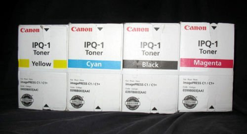 Canon IPQ-1 OEM Genuine Toner Cartridge Combo for Canon Image PRESS C1/C1+ (BCMY One Each:0397B003AA, 0398B003AA, 0399B003AA, 0400B003AA, (Imagepress C1 Yellow Toner)