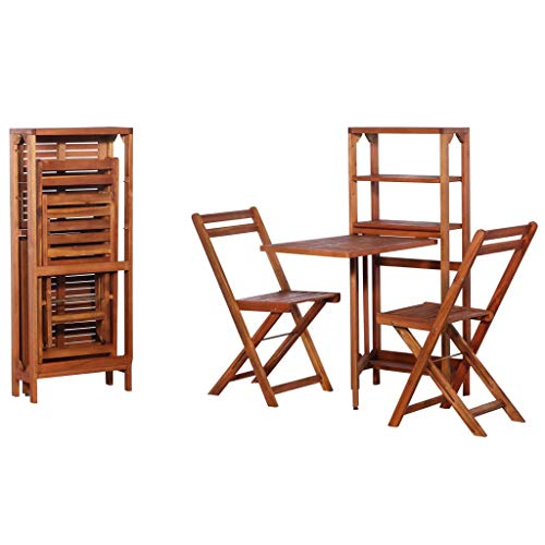Festnight 3 Piece Folding Dining Table Set Acacia Wood Bistro Set Storage Rack Table with 2 Chairs Breakfast Kitchen Bar Pub Garden Backyard Outdoor Patio Furniture (Chairs Set And Wooden 2 Bistro Table)