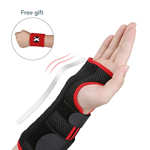 MARNUR Wrist Brace with Metal Support Splints for Carpal Tunnel, Tendonitis, Acute Sprains and Arthritis Recovery, Wrist Support with Adjustable Velcro Straps, Free Wrist Sweatband Included- Right