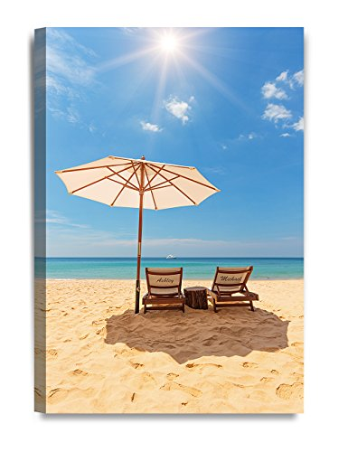 DecorArts - ''Romance on Beach'' - Personalized Canvas Prints Gift, includes Names and the Special Date - Perfect Gift for Anniversary, Valentine's day,Wedding. 24''x16'' by DECORARTS