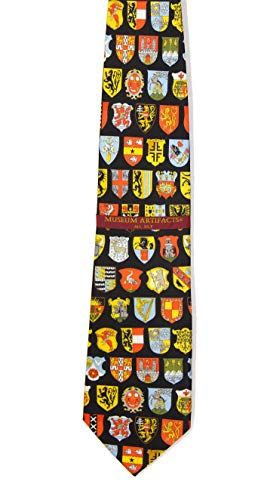 Mens 100% Silk Black & Colorful Heraldic Shields Heraldry Necktie Tie Neckwear