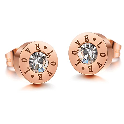 Women'S Titanium Stainless Steel Anti-Allergy Stud Earrings Rose-Golden Plated Rhinestone Inlay/Littering Carved Earrings Color Fading - Proof Is Scratch Titanium
