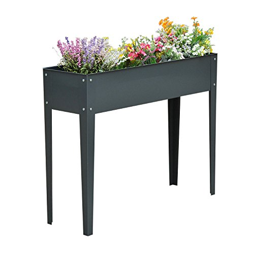 New Dark Gray 40''x12'' Raised Elevated Garden Flower Bed Plant Box Vegetable Planter Herb by MTN-G