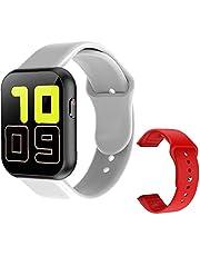 Smartwatch med full touch, smartklocka full touch bluetooth smartklocka med röd reservrem pulstest X6 Plus sport smart armband för män grå