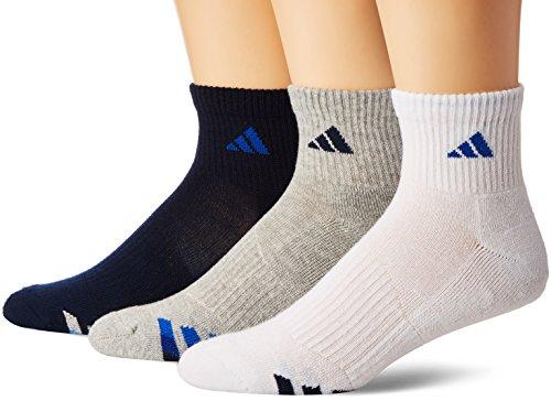 adidas Men's Cushioned 3-Pack Quarter Socks, Collegiate Navy/White/Heather Grey/Blue, Large