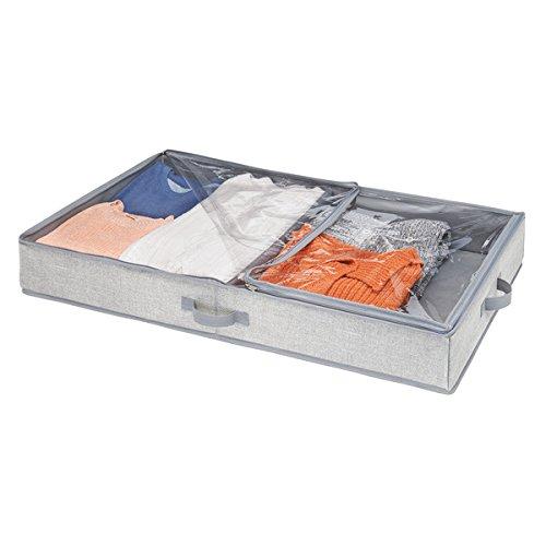 91,4 x 53,3 x 12,7 cm iDesign 05353EU Aldo Unterbett-Schubkasten f/ür Kleidung Polypropylen Stoff Schuhe grau Handtaschen