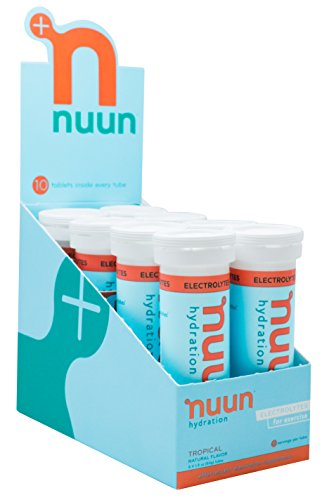 Nuun Hydration: Electrolyte Drink Tablets, Tropical, Box of 8 Tubes (80 servings), to Recover Essential Electrolytes Lost Through Sweat