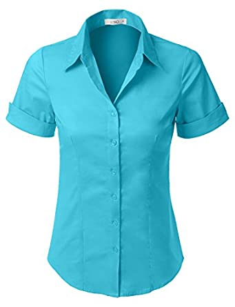 Le3no womens tailored short sleeve button down shirt with for Womens stretch button down shirt