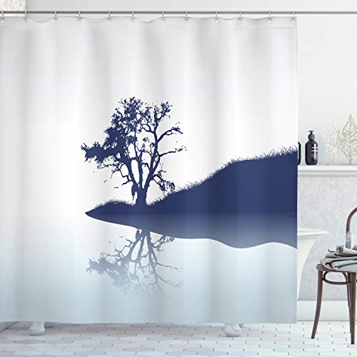 Ambesonne Nature Shower Curtain, Silhouette of Lonely Tree by Lake with Mirror -
