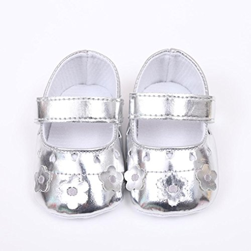 Hunpta Neugeborene Baby Mädchen Krippe schuhe Weiche alleinige Anti-Rutsch Turnschuhe Blumen Schuhe Silber