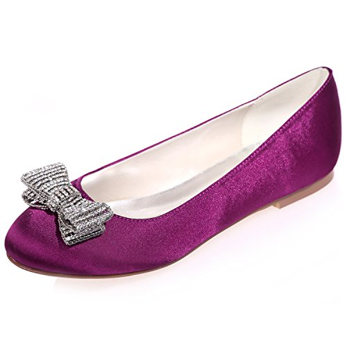 Prom Purple Shoes Party Round Wedding Bridal with Flats Toe 25 Bows Women's Satin ZXF9872 Evening Clearbridal qn1xff