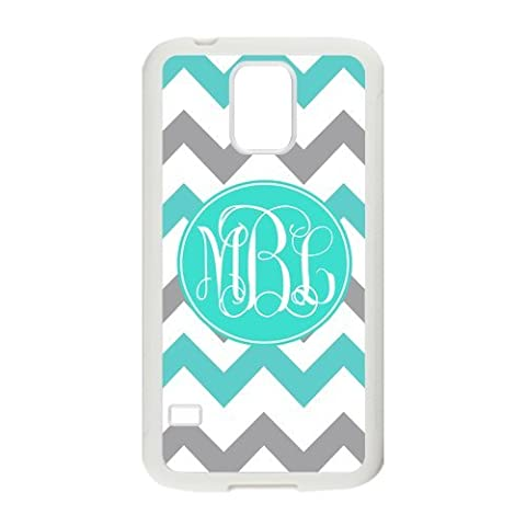 Zig Zag SkyBlue and Gray Chevron Personalized Monogrammed Phone Case Samsung Galaxy S5 Best Cover (Black and (Galaxy S3 Phone Cases Samsung)