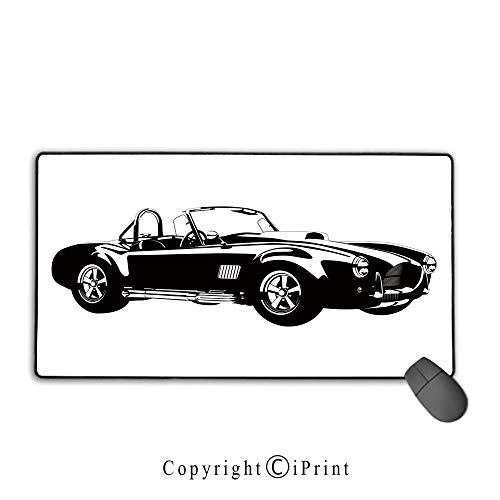 (Mouse pad with Lock,Cars,Silhouette Classic Sport Car Ac Cobra Roadster American Antique Engine Autosport,Black White,Ideal for Desk Cover, Computer Keyboard, PC and Laptop,15.8