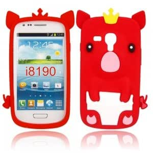 Silicone Protective Case with Crown Pig Pattern for Samsung i8190 Red