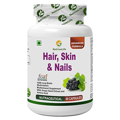 Nutrinelife Biotin 5000 mcg Hair Skin and Nail supplement with Multivitamin, Minerals, Grape seed extract and Amino acid…
