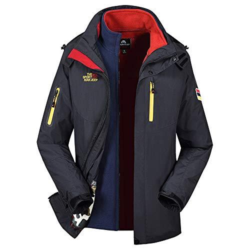 (Mens Winter with Cap Two Piece Three in One Warm Waterproof Windproof Outdoor Assault Jackets Coat Navy)
