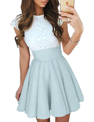 Ninimour Women's Trendy Splicing High Waist Pleated Lace Mini A-line Dress Sky Blue S