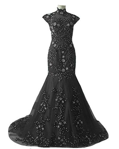 Kivary Vintage High Neck Sheer Mermaid Black Lace Beaded Formal Gothic Prom Evening Dresses US6 ()