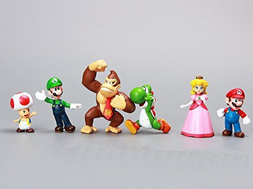 GCA Brothers 1 Set of 6 Mini Party Figures , Peach, Toad, Luigi, Yoshi Donkey Kong (1.5