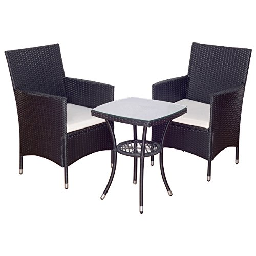 Patio Furniture Set Sofa Cushioned Table Garden Rattan Wicker with Lower Shelf For Sale
