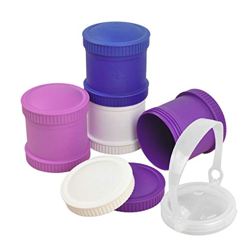 Re-Play Made in The USA 9 Piece Stackable Food and Snack Storage Containers for Babies, Toddlers and Kids of All Ages - Purple, White, Amethyst, Navy Blue (Violet+)