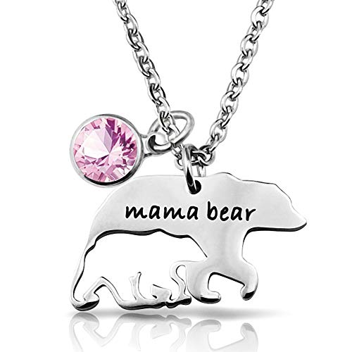BlinkingSoul Mama Bear Necklaces Pendant with 1 Cub Mother to Daughter Gifts ()