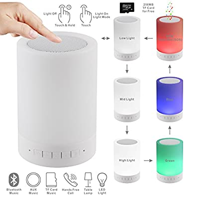 LED Bluetooth Speaker, PLENTY Portable Wireless Bluetooth Speaker LED Outdoor Camping Night Light Touch Control Table Lamp Bedside Lamp with Free 256MB TF Card, Muisc Player,Hands-free Speakerphone